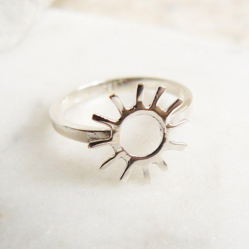 Sun Charm Ring Sterling Silver