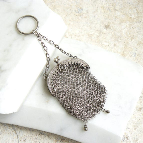 Chatelaine Purse, Vintage Silver Coin Purse, Victo