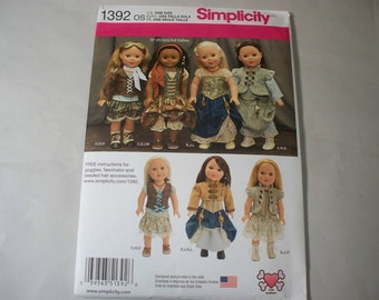 "New Simplicity 18"" Doll Clothing Pattern, 1392 (Free US Shipping)"