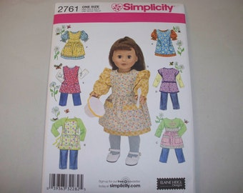 "New Simplicity 18"" Doll Clothing Pattern, 2761 (Free US Shipping)"