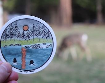 "Full Moon Swim 3x3"" Round Sticker — UV-resistant, Waterproof, Dishwasher-Safe Sticker (Hand-Drawn, Affordable Art)"