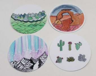 Round Quartet — Set of 4 or Buy Individually — Unique Waterproof Art Stickers Made From Hand-Drawn Designs