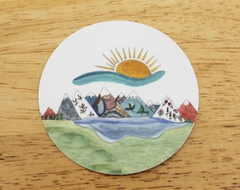 """Magic Mountains 3x3"""" Round Sticker and/or Magnet (Buy Individually or As a Set) — Unique Gifts Made From Hand-Drawn Designs"""
