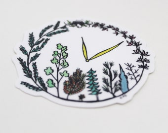 Time for Conservation Sticker: Weatherproof Outdoor Sticker Made From Hand-Drawn Design; Unique, Outdoor, Conservation Gift