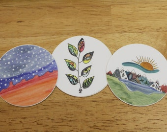 Round Trio: Set of 3 or Buy Individually — Unique Waterproof Art Stickers Made From Hand-Drawn Designs
