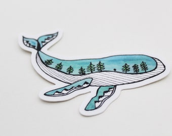 Teal Tree Whale Sticker - Weatherproof Outdoor Sticker / Vinyl Decal - Hand-drawn Design - Unique, Eco, Mountain, Oceanic Conservation Gift