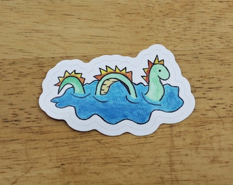 Sea Monster Sticker (made from a hand-drawn design) — Unique Loch Ness Kids Outdoor Ocean Gift — Waterproof, UV-Resistant, + Dishwasher-Safe