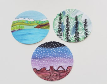 Round Sticker Bundle #3 — Set of 3 or Buy Individually — Unique Waterproof Art Stickers Made From Hand-Drawn Designs