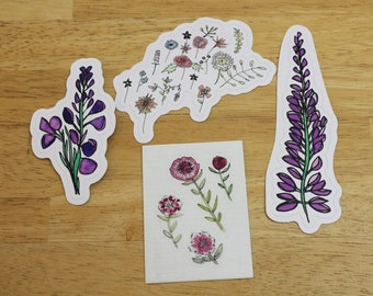 Alpine Wildflowers Sticker Bundle (4 stickers for the price of 3!) — Multiple Designs — Weatherproof Stickers Made From Hand-drawn Designs