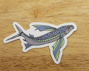 Flying Fish Sticker - Weatherproof Outdoor Sticker - Conservation Fishing Outdoor Eco Mother's Day Father's Day Gifts