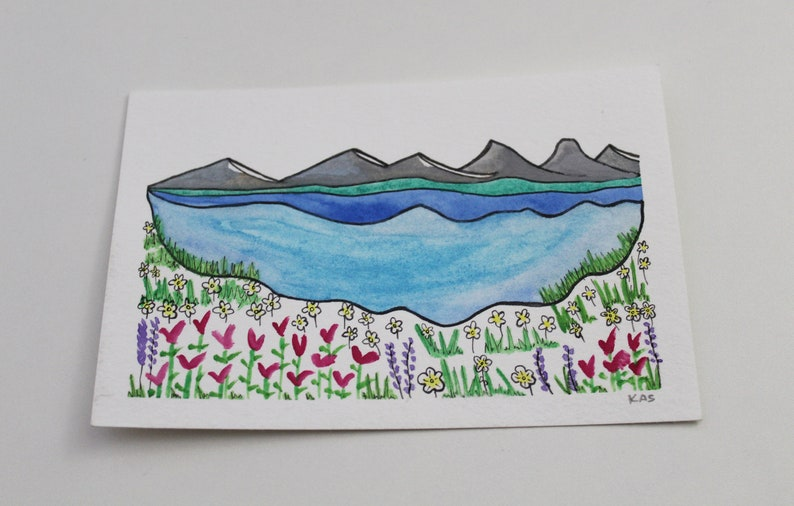 4x6 Original Watercolor Painting: Layers of image 0