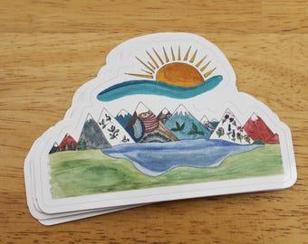 Magic Mountains Vinyl Sticker — Weatherproof Outdoor Eco Hiker Alpine Unique Art Gifts