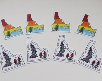 Idaho State Sticker (Two Hand-drawn Designs) — Buy Individually or As a Set — Unique Outdoor Hiker Mountain Wildlife Wedding Gifts
