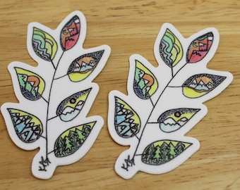 Mountain Leaves Die-Cut Sticker and/or Magnet — Outdoor, Mountain Art; Hiker, Kids, Forest Gifts — Unique Colorful Hand-Drawn Affordable Art