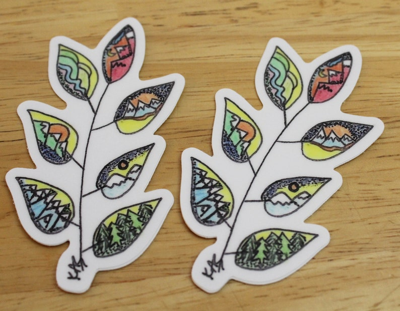 Mountain Leaves Die-Cut Sticker and/or Magnet  Outdoor One of Each