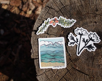 Endless Summer Sticker Bundle: Set of 3 or Buy Individually — Unique Waterproof Art Stickers Made From Hand-Drawn Designs