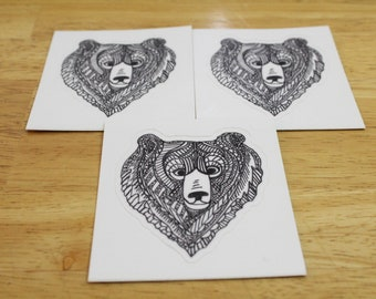 B&W Bear Head Sticker — Waterproof, UV-resistant, Dishwasher-safe — Made From a Hand-drawn Design