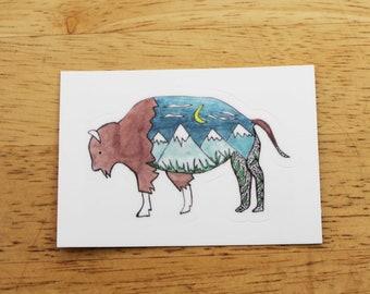 Mountain Bison Sticker — Waterproof Vinyl Sticker Made From Hand-Drawn Designs; National Parks, Southwest, Wildlife Gifts