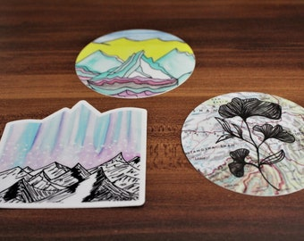 Solstice Sticker Trio [Set of 3 or Buy Individually] — Waterproof, UV-Resistant, & Dishwasher-safe — Made from hand-drawn designs