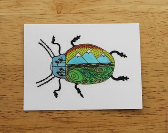 Mountain Beetle Sticker - Weatherproof Outdoor Sticker - Vinyl Decal - Conservation Eco Bug Insect Mother's Day Father's Day Grad Kids Gifts