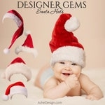 Christmas Designer Gems - SANTA HATS - (5) Flat .png files - Photography Overlays For Your Photos and Quick Pages.