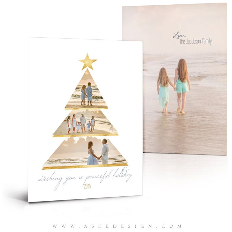 Christmas Card Templates Gold Foil Holiday 5x7 Flat Press
