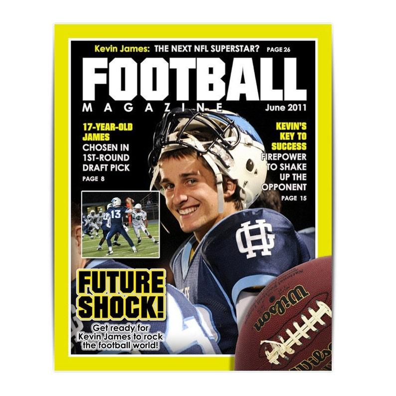 Photoshop Template Sports Design 8x10 Football Magazine Cover 1 Digital Template For Photographers Scrapbookers