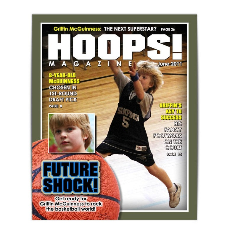 Photoshop Template Sports Design 8x10 Basketball Magazine Cover 1 Digital Template For Photographers Scrapbookers