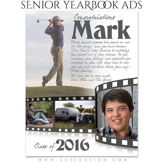 Senior Yearbook Ads Photoshop Templates Film Strip High Etsy