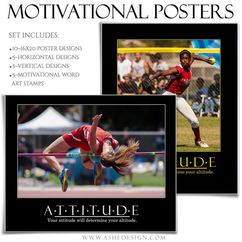 Word Art Quotes. 5 16x20 Photoshop Poster Templates in Hz /& Vt including MOTIVATIONAL SERIES Set 1 - Sports Poster Set 5