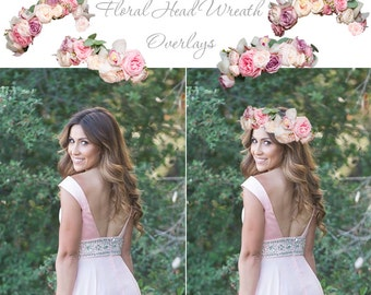 FLORAL HEAD WREATHS - Digital Overlays For Your Photos and Quick Pages, Photo Overlays, Flower Headband, Flower Hair Wreath, Hair Flowers