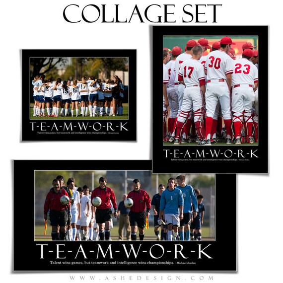 Motivational Sports Collage Set Teamwork 3 Photoshop Collage Templates Each With 1 Word Art Quote 8x10 10x20 11x14
