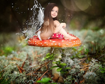 Digital Background, Photo Overlays, Background Replacement, Photography Backgrounds & Backdrops, Enchanted Forest, Magical Water Fairy Wings