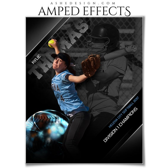 photoshop template amped effects sports poster high etsy