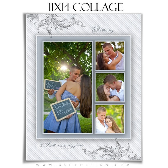wedding collage template wings of love 1 11x14 1 sided etsy