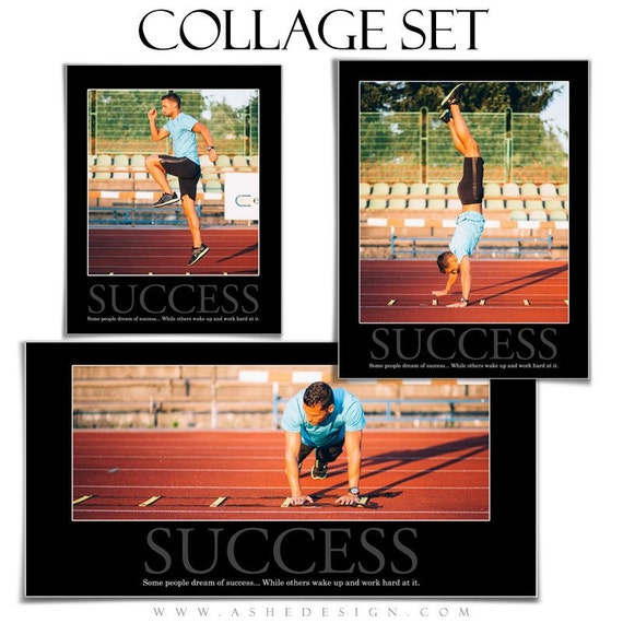 motivational sports collage set success 3 photoshop etsy