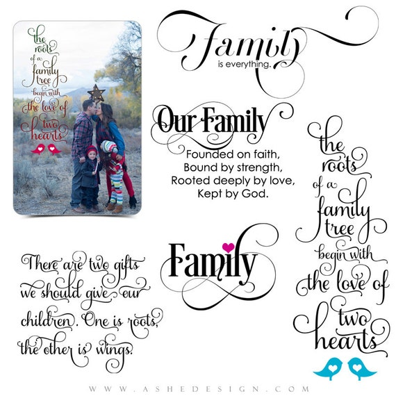 Family Word Art Quotes Photo Overlays For Scrapbooking Etsy