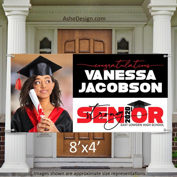 Graduation Door Banner, Photo Banner Class of 2020, Senior Photo Yard Banner, Grad Photo Door Banner, 2020 Senior Strong Banner Wide