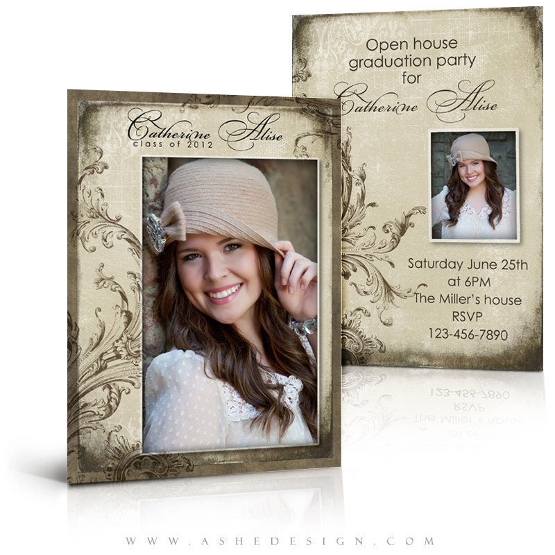 senior girl graduation invitation catherine alise 5x7 flat