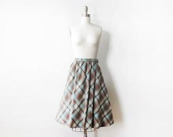 6fe61b5578 60s plaid skirt, vintage 60s wool skirt, teal and brown knee length midi  skirt, extra small xs