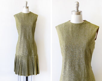 L 1970s Gold Metallic Drop Waist Dress