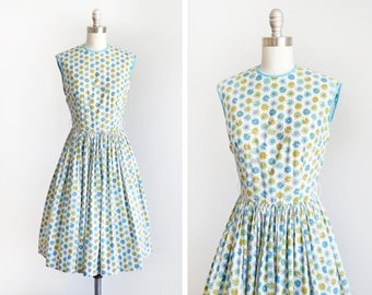 4b4826579 60s floral novelty print dress, vintage 1960s Bobbie Brooks dress, he loves  me/he loves me not blue flower dress, xs/small