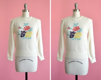 Cute Vintage Floral Sweater Vintage Sweater with Roses by SUCCESS New York Women/'s Floral Sweater Sparkly Sweater