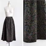 "black paisley velvet skirt, vintage 80s a line skirt, 1980s high waist metallic gold dark floral boho midi skirt, 28"" waist medium"