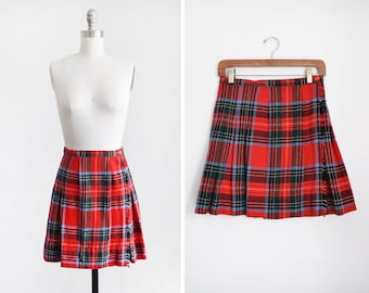 e163cae6c red plaid mini skirt, vintage 60s wool pleated skirt, 1960s Garland short  fringe skirt, small 26