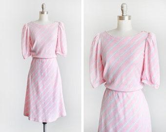 8f7f6fe583 80s pink striped dress, vintage 1980s dress, pastel pink aqua purple  diagonal stripes puff sleeve dress, small