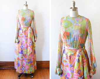 ed0d0561a 60s silk chiffon maxi dress, vintage 1960s dress, hand painted floral  patchwork psychedelic gown with scarf, extra small xs