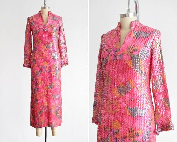 Pink Floral Sequin Dress, Vintage 70s Maxi Dress,