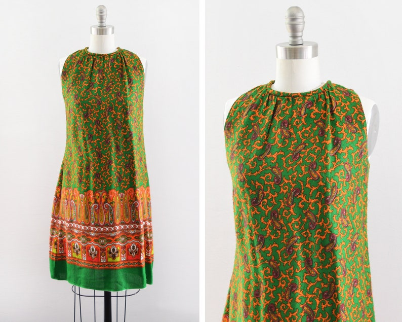60s paisley dress vintage 1960s shift dress green & orange image 0