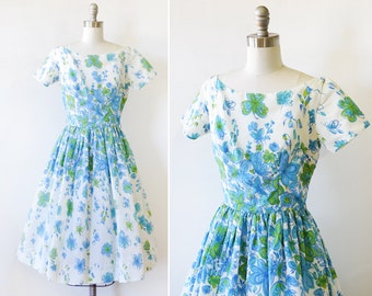 vintage 60s floral dress, 1950s blue and white floral dress, small blue floral dress